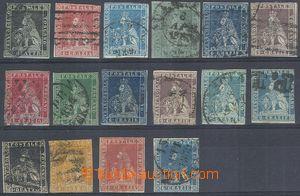 80384 - 1851-57 Mi.1, 4-8, 4y, 5y 2x, 6y-8y, 10-13, selection of 16