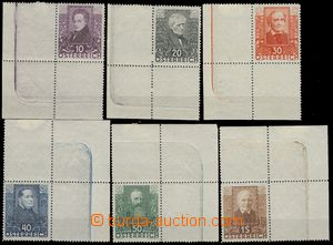 80391 - 1931 Mi.524-529 Básníci, sestava rohových známek s okraj