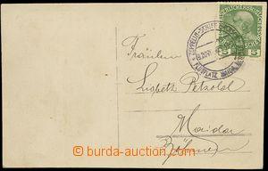 80422 - 1913 AUSTRIA  postcard Zeppelin Sachsen (Saxonia), with 5h F