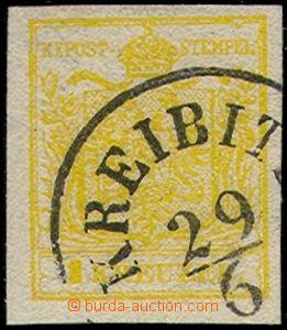 80520 - 1850 Mi.1X, HP, type III., 1 Kr shade kadmiumgelb, at top wm
