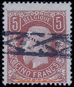 80526 - 1869 Mi.34b, 5Fr Leopold II., red-brown, cancel. Rollenstemp