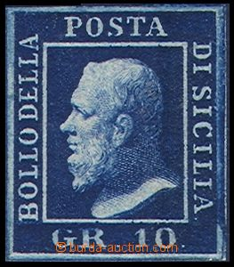 80562 - 1859 Mi.5a, value 10Gr dark blue, very wide margins, c.v.. 6