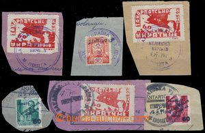 80565 - 1945 comp. 6 pcs of cut-squares with stamp. Mi.78, 84, and o