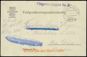 80568 - 1917 Fliegerkompagnie No.3, line violet cancel. on FP card,