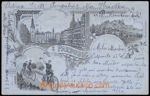 80575 - 1901 PARDUBICE - 3-views monochrome lithography, postcard wi
