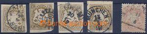 80576 - 1868 Mi.20 4x, různé střihy a razítka, 1x obtisk ?, ktom