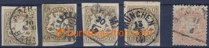 80576 - 1868 Mi.20 4x, various margins and postmark, 1x offset ?, kt