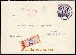 80617 - 1939 R dopis v místě, R-nálepka BRNO 1 (ex offo), DR BRNO