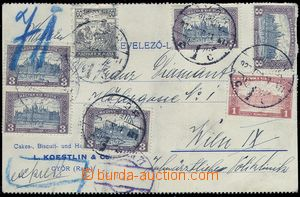 80645 - 1922 HUNGARY  identification entire, card to Vienna with mul