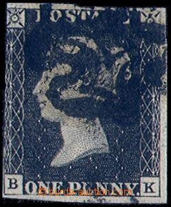 80660 - 1840 Mi.1, letters B-K, inexact margins, deeper postmark, af