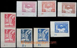 80669 - 1945 Pof.353-359, Košické, dolní levé rohové kusy s DČ