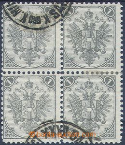 80730 - 1879 M.1 I., 1 Kr grey, lithography, block of four with whol