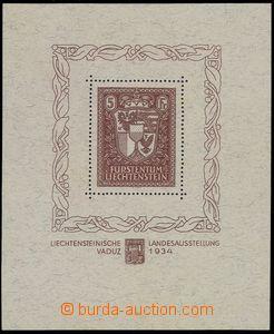 80739 - 1934 Mi.Bl.1, aršík Zemská výstava Vaduz, několik velmi