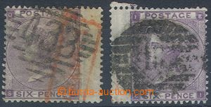 80798 - 1862 Mi.20 I. + II., 6P violet, comp. 2 pcs of stamps, plate