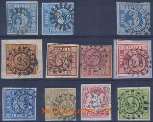 80813 - 1849 Mi.2 I. + II., Numerals 3 Kreuzer blue, also with 9 pcs
