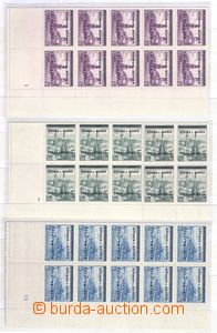 80815 - 1939 Pof.1-19, rohové 10-bloky s DČ, hodnota 4Kč se 2 dol