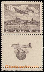 80877 - 1946 Pof.L22N KD, Letecké motivy 20Kčs hnědá, nevydaná