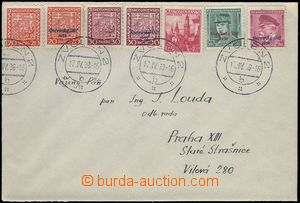 80912 - 1939 letter to Prague, franked overprint and Czechosl. stamp