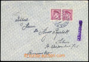 80914 - 1939 CENZURA  dopis do Rumunska, vyfr. zn. Pof.303 2x, DR PR
