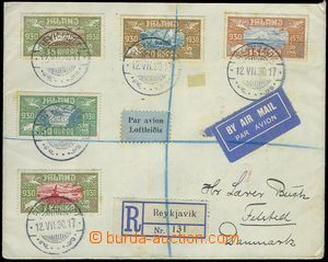 80993 - 1930 philatelically influenced Reg and airmail letter to Den