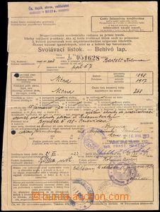 80996 - 1923 MILITARIA  draft card, Slovakian - Hungarian text, paid
