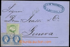 81099 - 1870 LEVANT  letter to Genoa with Mi.2, 4 2x, thimple pmk SM