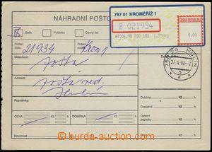 81300 - 1998 reserve dispatch note with label APOST KROMĚŘÍŽ 1,