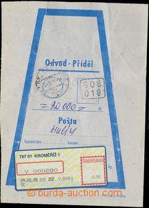 81306 - 1998 mailbag receipt with label APOST KROMĚŘÍŽ 1, type 2