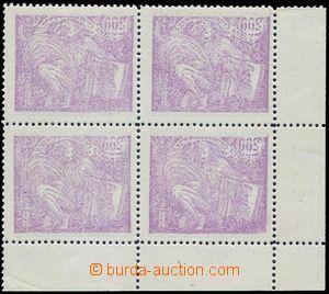 81345 -  Pof.165A, 200h violet, L corner blk-of-4 with full sheet of
