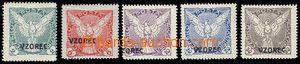 81367 - 1918 Pof.NV1-6 vz, kompletní řada hodnot s přetiskem VZOR