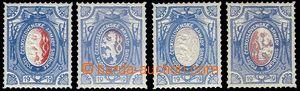 81403 - 1919 Pof.PP5, 4ks, ovál 1x s částečným tiskem červenou