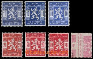 81410 - 1918 Pof.SK1, 3x various shades from that 1x light blue + SK