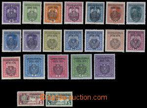 81413 - 1918 Pof.RV22-42, Pražský přetisk II, velký znak, kompletní