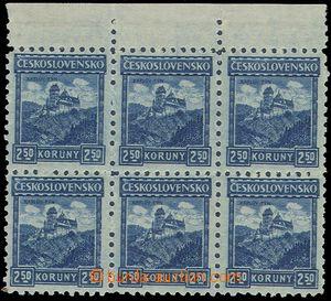 81429 - 1926 Pof.215 P6, Castles 2,50CZK, marginal block-of-6, mint