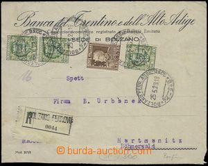 81461 - 1928 ITALY  bank Reg letter addressed to to Czechoslovakia,