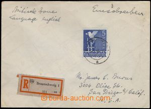 81471 - 1948 BIZONE  Reg letter to USA, with joined issue Mi.962, th