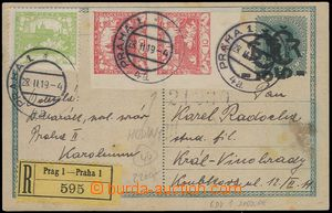 81473 - 1919 CDV1Pba, double overprint, uprated to Registered with s