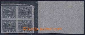 81521 -  trial print 5h, black, newspaper paper, corner blk-of-4 wit