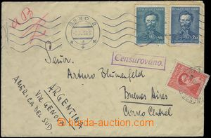 81549 - 1939 CENSORSHIP  letter to Argentina, with Pof.339 + 341, MC