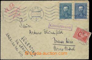 81549 - 1939 CENZURA  dopis do Argentiny, vyfr. zn. Pof.339 + 341, S