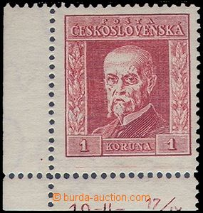 81552 - 1925 Pof.190B P5, 1CZK red, L corner with plate number 19-//