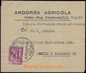 81586 - 1936 SPANISH OFF.  novinový rukáv do ČSR vyfr. zn. Mi.16,