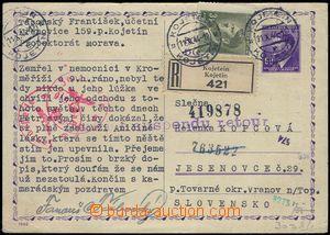 81603 - 1944 CDV16Pb sent as Reg to Slovakia, uprated with stamp Pof