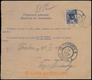 81609 - 1922 CPP14  larger part international dispatch-note franked