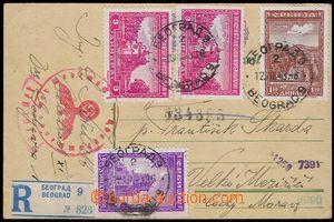 81646 - 1943 SERBIEN  celina - přelep, zaslaná jako R z Bělehradu