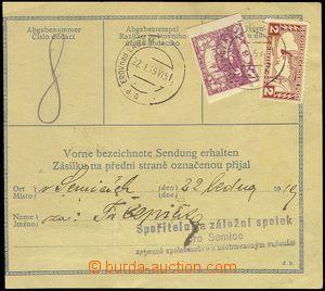 81664 - 1919 větší díl balíkové průvodky kde poplatek za dod�