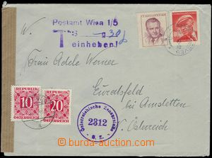 81687 - 1949 CENSORSHIP  letter to Austria, burdened with postage-du
