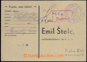 81689 - 1945 without franking objednávkový card with provisory coa
