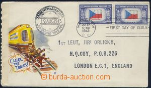 81703 - 1943 FDC with stamp. USA issue Flags Czechoslovakia, address