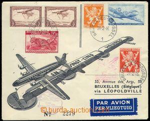 81713 - 1946 first flight Brussels - Leopoldville and back, envelope